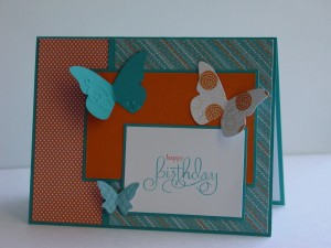 CAS50 - Teal and Pumpkin Butterflies