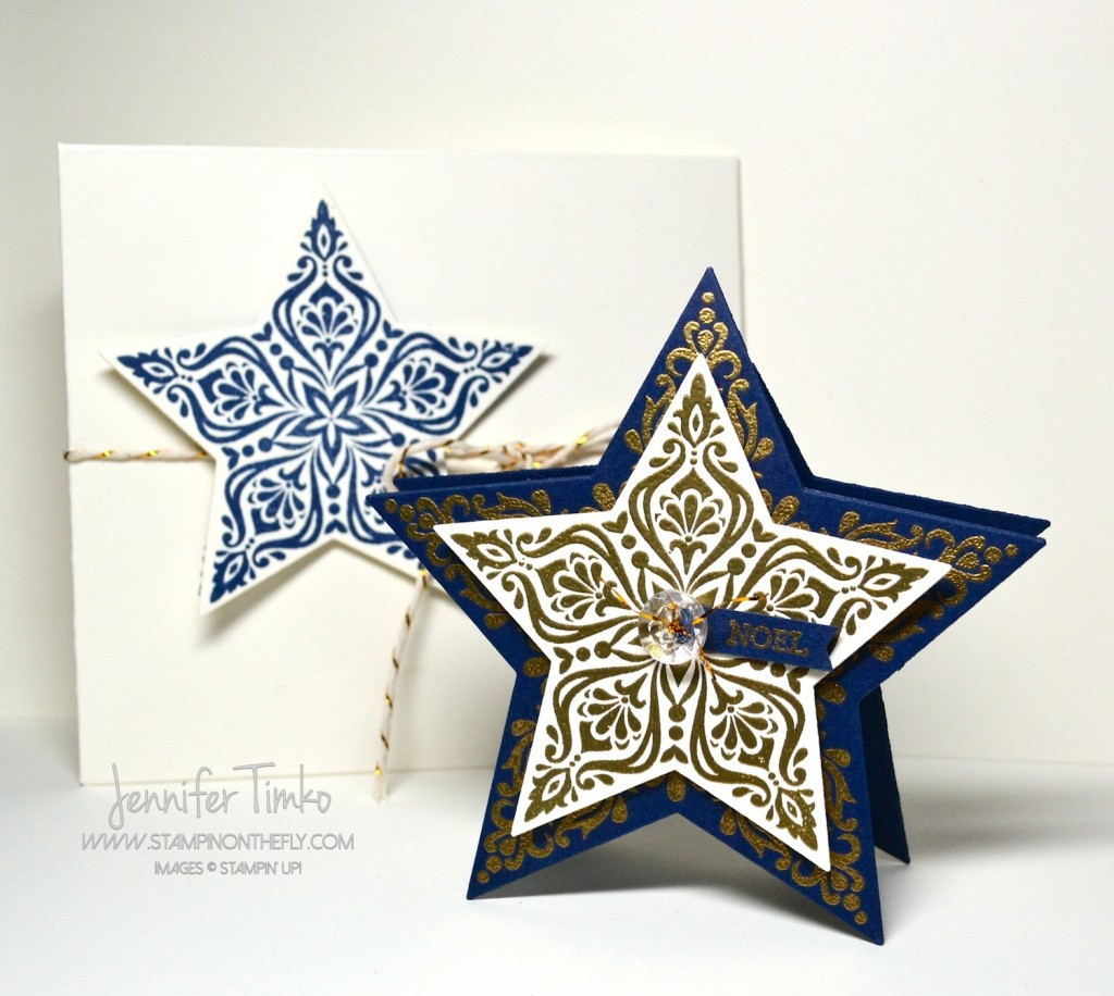 Navy and Gold Star-Shaped Card