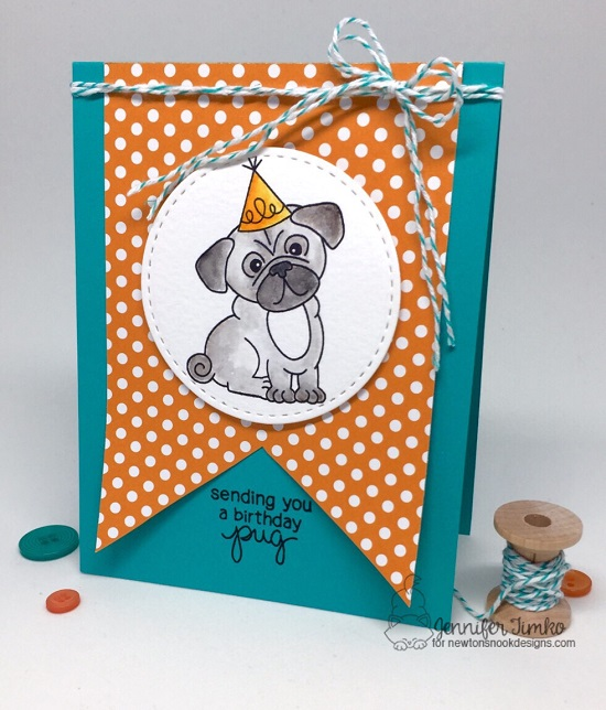 Birthday Pug by Jen Timko | Pug Hugs Stamp Set by Newton's Nook Designs #newtonsnook