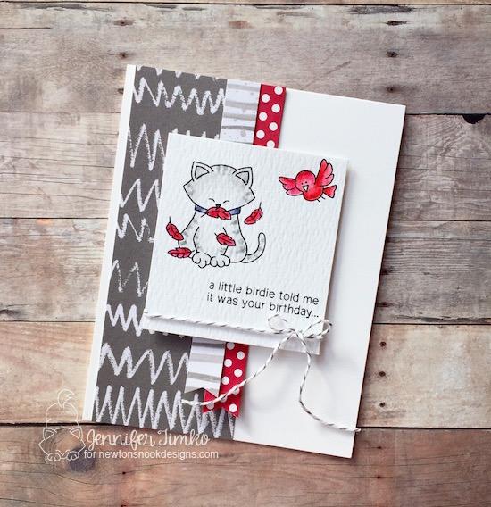 A Little Birdie by Jen Timko | Inky Paws Challenge #40, Newton's Birthday Flutter Stamp Set, Newton's Nook
