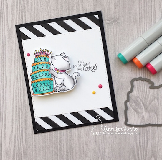 Wobble Cake by Jen Timko | Newton Loves Cake Stamp Set by Newton's Nook Designs, Action Wobbler, Copic Coloring, #newtonsnook