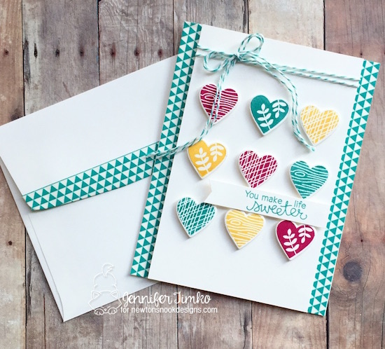 Sweet Hearts by Jen Timko | Woodland Duos Stamp Set and Darling Hearts Dies by Newton's Nook Designs #newtonsnook