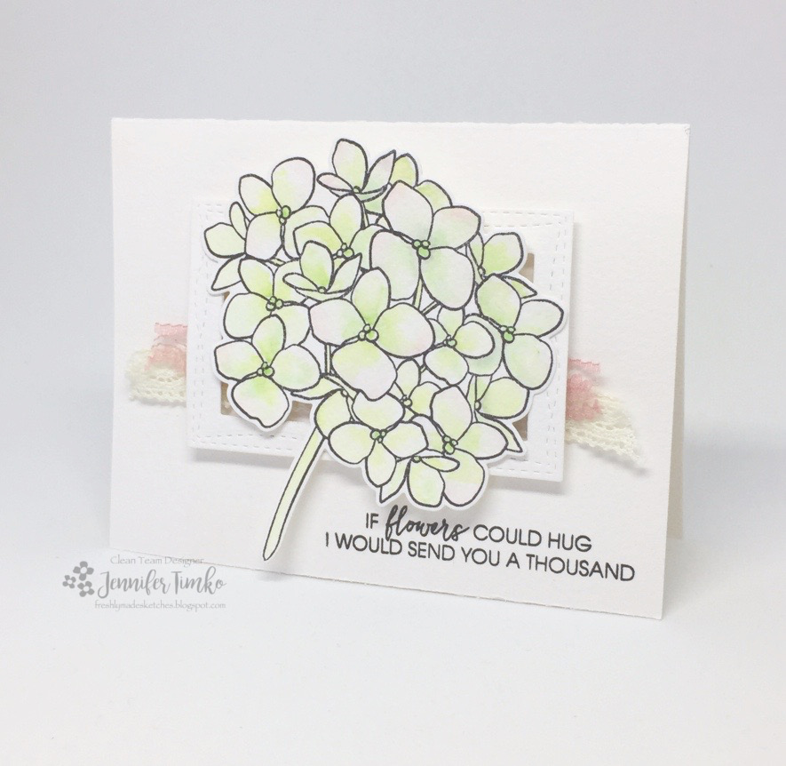 FMS279 by Jen Timko | Mondo Hydrangea by Ellen Hutson, Lovely by Ellen Hutson, Watercolor, Zig Clean Color, Wonky Stitched Rectangles