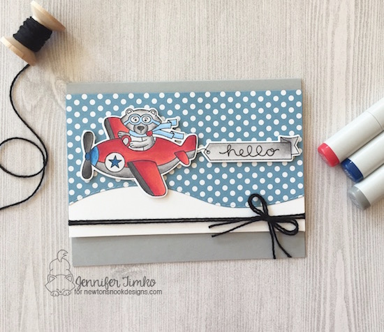 Inky Paws #43 by Jen Timko | Winston Takes Flight Stamp and Dies by Newton's Nook Designs, Land Borders Dies by Newton's Nook Designs