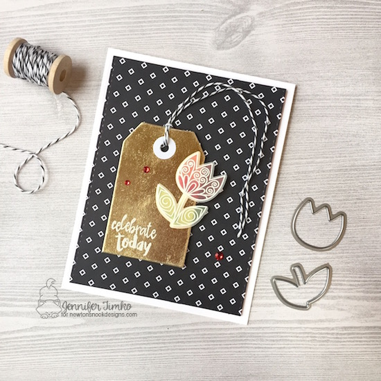 Beautiful Flower by Jen Timko | Beautiful Spring Stamp Set and Dies by Newton's Nook Designs, Happy Little Thoughts Stamp Set by Newton's Nook Designs, Pop of Pink DSP by Stampin' Up