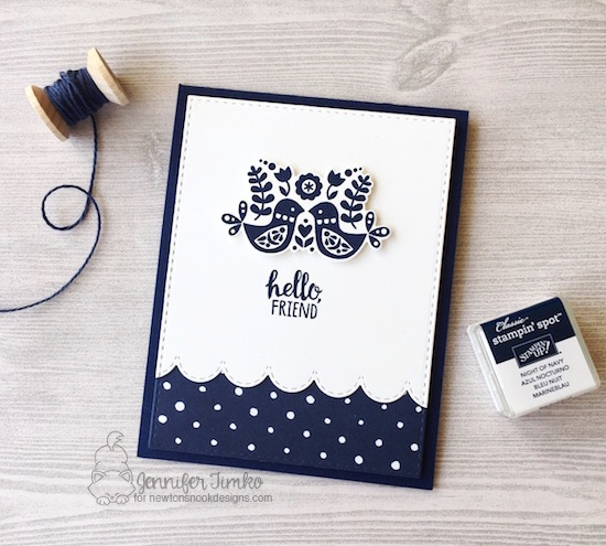 Hello Friend by Jen Timko | Cottage Garden Stamp Set and Dies by Newton's Nook Designs, Sky Borders Dies by Newton's Nook Designs, Floral Boutique DSP by Stampin' Up