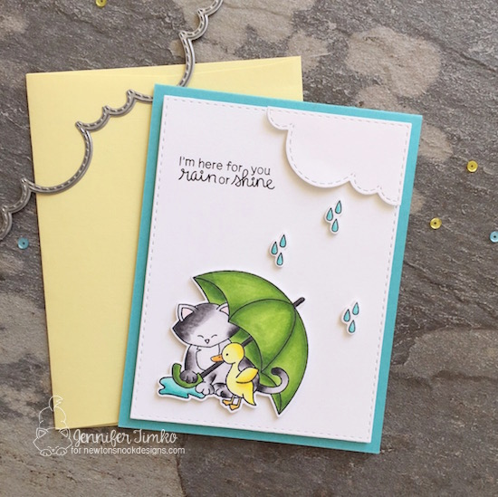 Rain or Shine by Jen Timko | Newton's Rainy Day Stamp Set and Dies by Newton's Nook Designs, Sky Borders Dies by Newton's Nook Designs, Copic Coloring