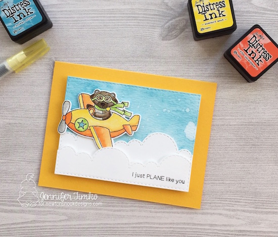 I Just Plane Like You by Jen Timko | Winston Takes Flight by Newton's Nook Designs, Sky Borders Dies by Newton's Nook Designs, Distress Ink, Watercolor, #newtonsnook