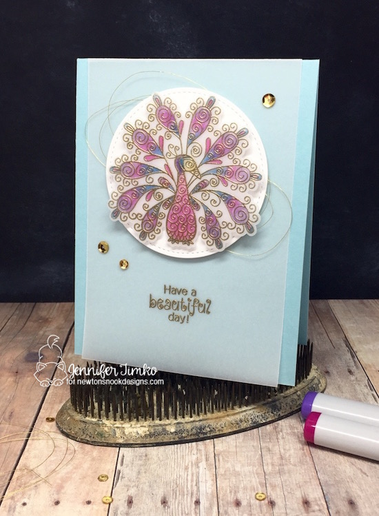 Beautiful Peacock by Jen Timko | Beautiful Plumage Stamp Set and Dies by Newton's Nook Designs, Copic Coloring on Vellum