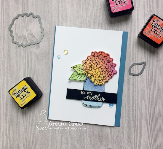 Blooms for Mom by Jen Timko | Lovely Blooms Stamp Set and Dies by Newton's Nook Designs, Tim Holtz Distress Ink, Mason Jar, #newtonsnook