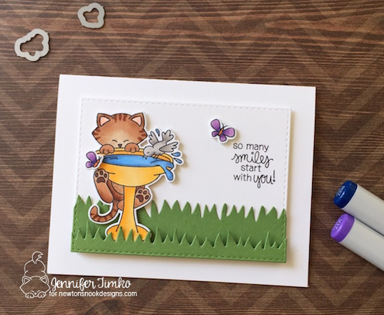 Newton's Birdbath by Jen Timko | Newton's Birdbath Stamp Set and Dies by Newton's Nook Designs, Copic Coloring