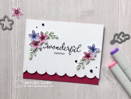 Wonderful Teacher by Jen Timko | Simply Relative Stamp Set by Newton's Nook Designs, Lovely Blooms Stamp Set by Newton's Nook Designs, Copic Coloring
