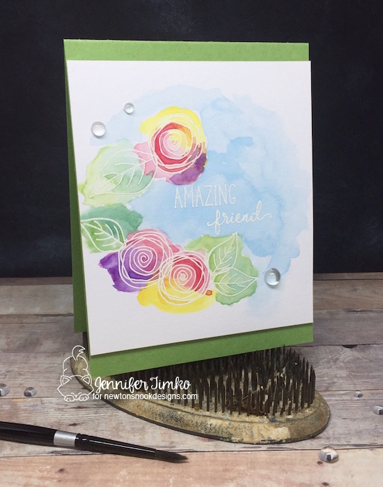 Amazing Friend by Jen Timko | Lovely Blooms Stamp by Newton's Nook Designs, Watercolor