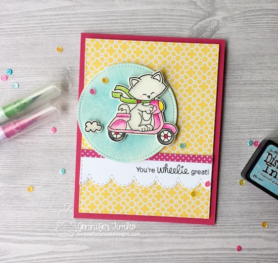 Wheelie Great by Jen Timko | Newton Scoots By Stamps and Dies by Newton's Nook Designs, Sky Borders Dies (Newton's Nook Designs), Zig Clean Color Markers, Watercolor Card