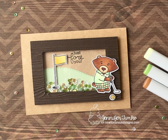 Just Fore You by Jen Timko | Winston's Tee Time Stamp and Dies by Newton's Nook Designs, Copic Coloring, newtonsnook, Golf Card, Shaker Card