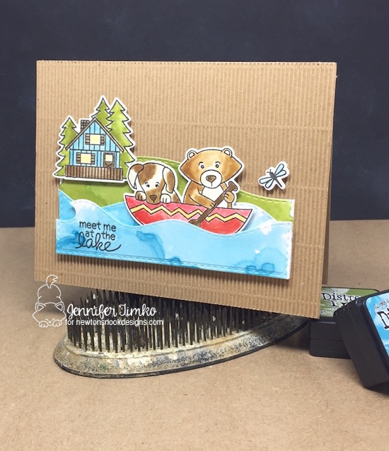 Meet Me At The Lake by Jen Timko | Winston's Lake House Stamps and Dies by Newton's Nook Designs, Tim Holtz Distress Inks, Watercolor