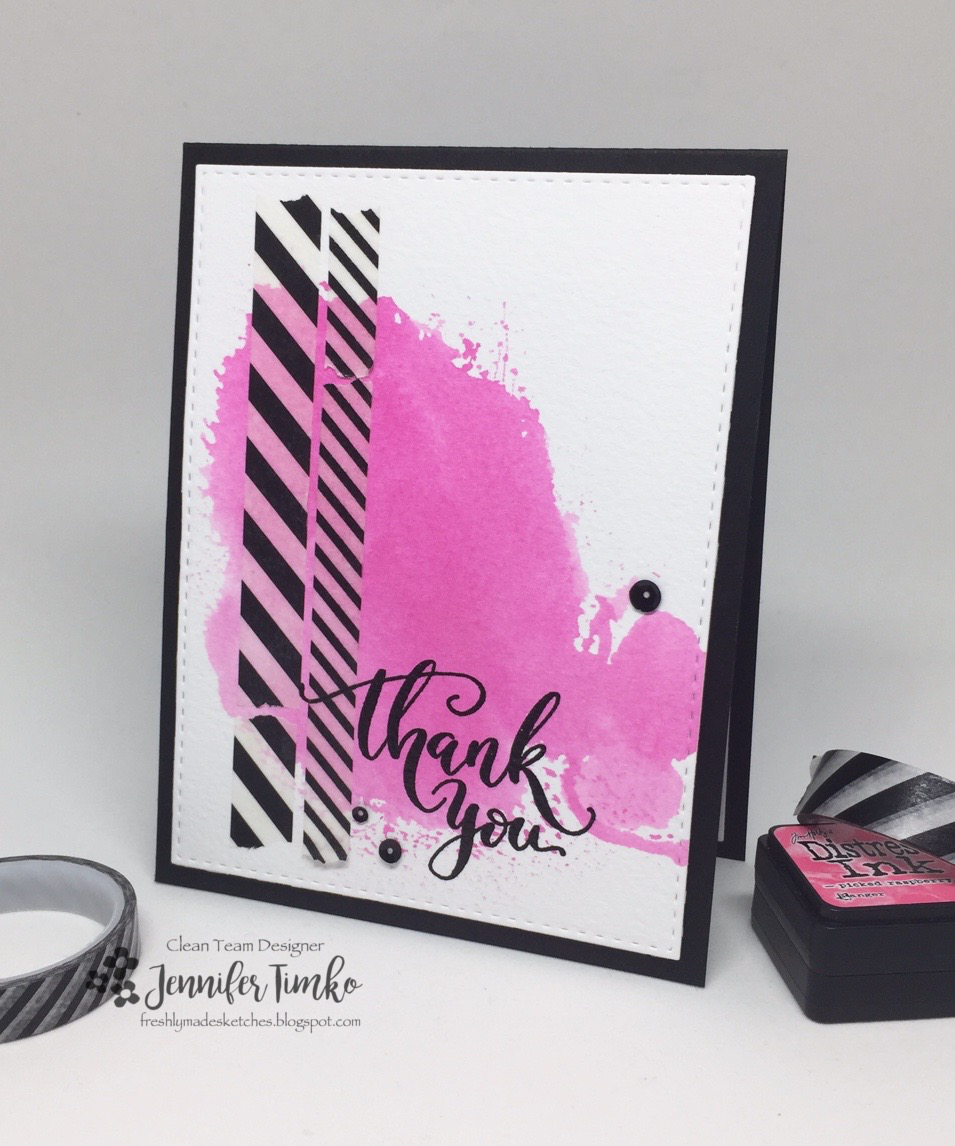 FMS299 by Jen Timko | Mini Thank You Stamp by Studio Katia, Tim Holtz Distress Ink