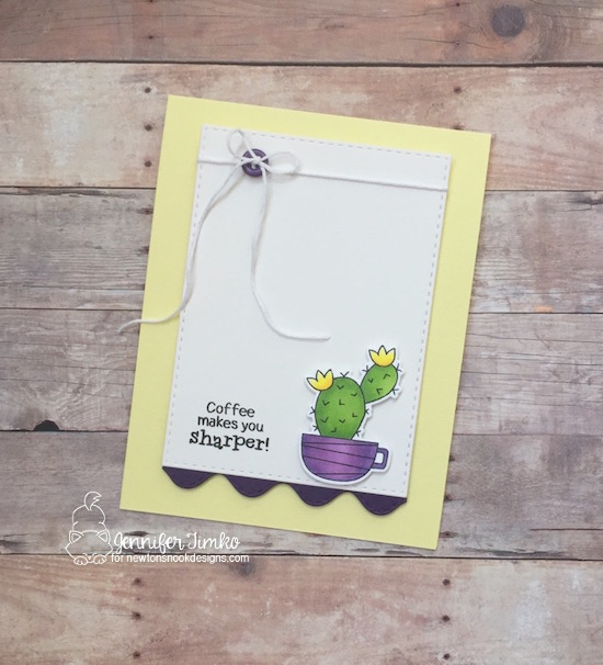 Coffee Makes You Sharper by Jen Timko | Cuppa Cactus Stamps and Dies by Newton's Nook Designs, Sea Borders Dies by Newton's Nook Designs, Copic Coloring