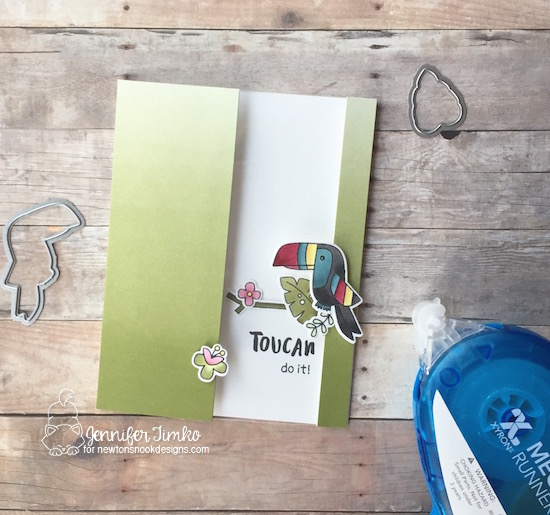 Toucan Do It by Jen Timko | Toucan Party Stamps and Dies by Newton's Nook Designs, Window Card, Xyron Permanent Mega Runner, Copic Coloring, Tutorial, Window Card