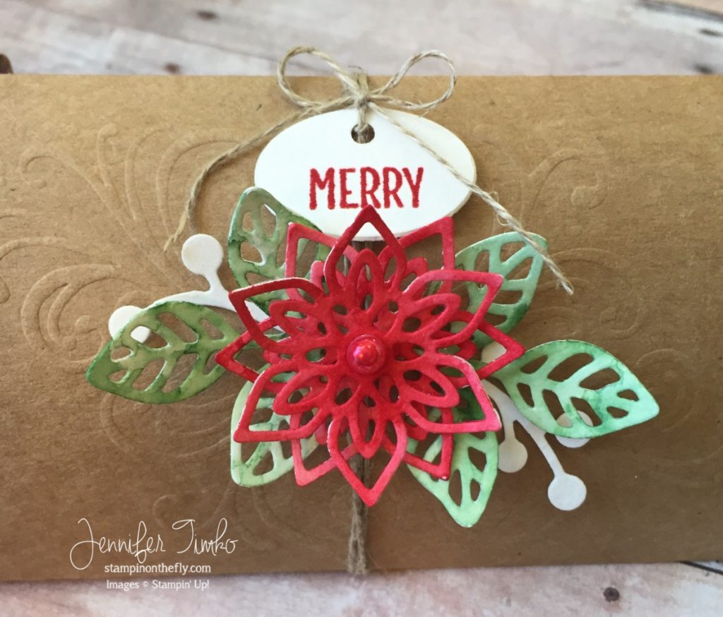 Fancy Friday Closeup by Jen Timko | Flourish Thinlits by Stampin' Up, Merry Café Stamp Set, Pillow Box by Paper Pumpkin