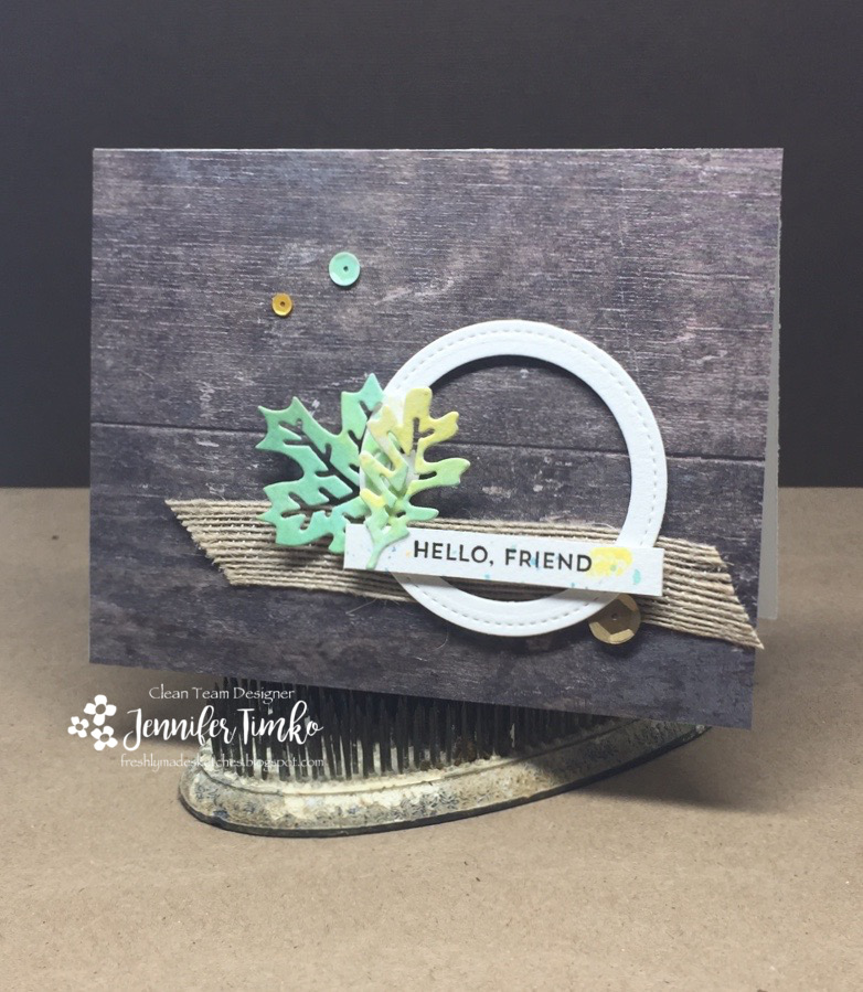 FMS307 by Jen Timko | Autumn Leaves Dies by Newton's Nook Designs, Stitched Shapes Framelits by Stampin' Up, Tim Holtz Oxide Inks, Paper Pumpkin, Wood Textures DSP by Stampin' Up