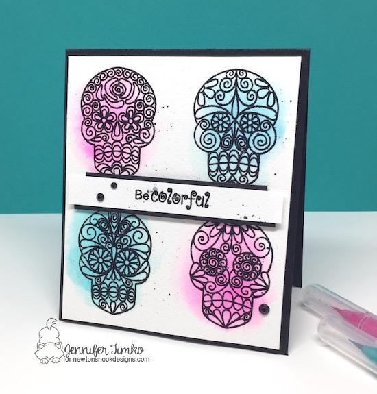 FMS304 by Jen Timko | Beautiful Bones Stamp Set by Newton's Nook Designs, Black Glitter Embossing Powder by WOW!, Sugar Skull