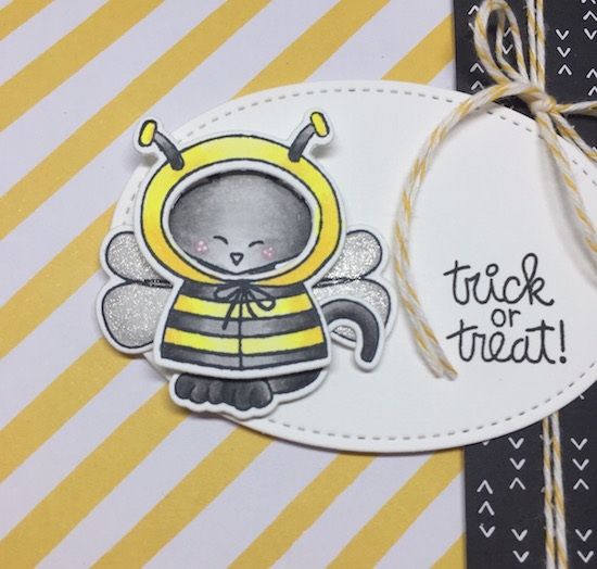 Trick or Treat Close Up by Jen Timko | Newton's Costume Party Stamp and Dies by Newton's Nook Designs, Copic Coloring, Wink of Stella