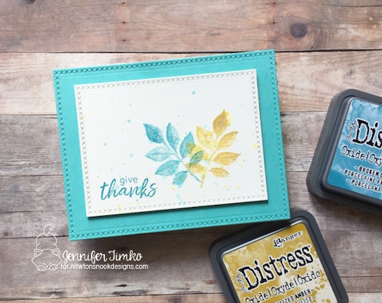 Give Thanks by Jen Timko | Shades of Autumn Stamp Set by Newton's Nook Designs, Cross Stitched Dies, Distress Oxide Ink