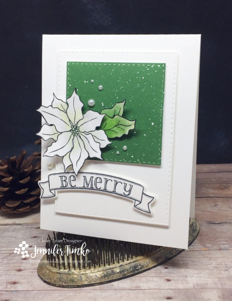 FMS308 by Jen Timko | Poinsettia Stamp by Simon Says Stamp, Be Merry Stamp and Dies by WPlus9, Be Merry DSP by Stampin' Up, Copic Coloring