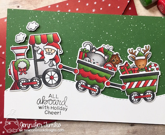 All Aboard Close Up by Jen Timko | All Aboard for Christmas Stamp Set and Dies by Newton' Nook Designs, Be Merry DSP by Stampin' Up, Copic Coloring