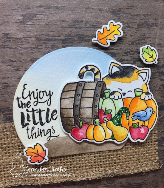 Enjoy Autumn Close Up by Jen Timko | Autumn Newton Stamp Set and Dies by Newton's Nook Designs, Happy Little Thoughts Stamp Set by Newton's Nook Designs, Winsor and Newton Paints, Watercolor