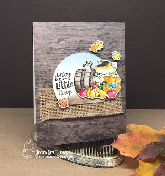 Enjoy Autumn by Jen Timko | Autumn Newtons Stamp Set and Dies by Newton's Nook Designs, Happy Little Thoughts Stamp Set by Newton's Nook Designs, Winsor and Newton Paints, Watercolor