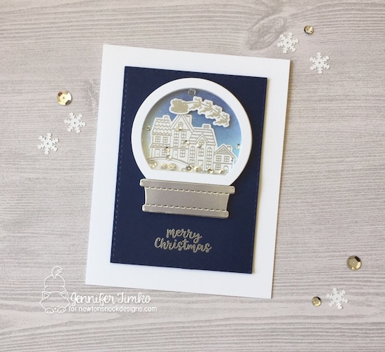 Santa Snow Globe by Jen Timko | Snow Globe Scenes Stamp Set and Dies by Newton's Nook Designs, Snow Globe Shaker Dies by Newton's Nook Designs