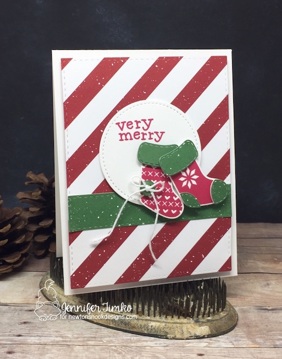 FMS309 by Jen Timko | Stylish Stockings Stamp Set and Dies by Newton's Nook Designs, Be Merry DSP by Stampin' Up