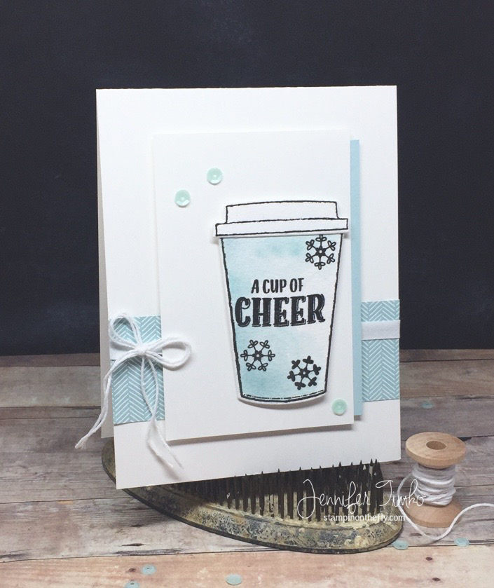 Fancy Friday - Cup of Cheer by Jen Timko | Merry Cafe Stamp Set by Stampin' Up, Coffee Cups Framelits by Stampin' Up, Coffee Break DSP by Stampin' Up, Watercolor