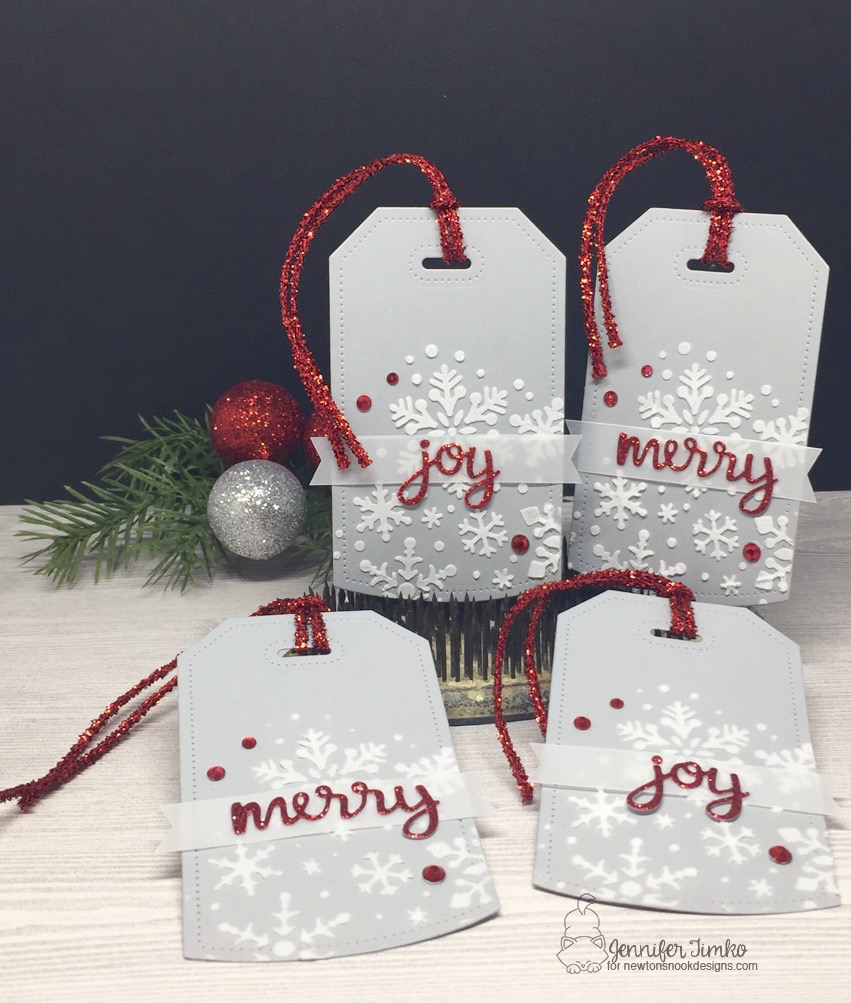Merry and Joy Tags by Jen Timko | Snowfall Stencil by Newton's Nook Designs, Snow Globe Shaker Die Set by Newton's Nook Designs, Dotted Shaker Tag 1 Die by Studio Katia