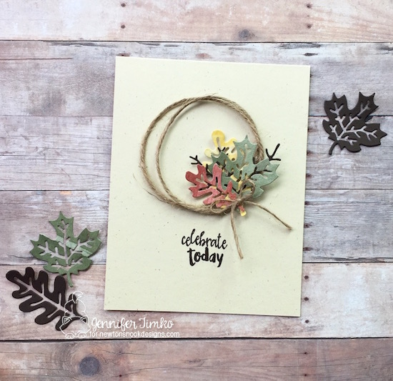 Celebrate Autumn by Jen Timko | Autumn Leaves Dies by Newton's Nook Designs, Happy Little Thoughts Stamp Set by Newton's Nook Designs, Jute Twine by Stampin' Up
