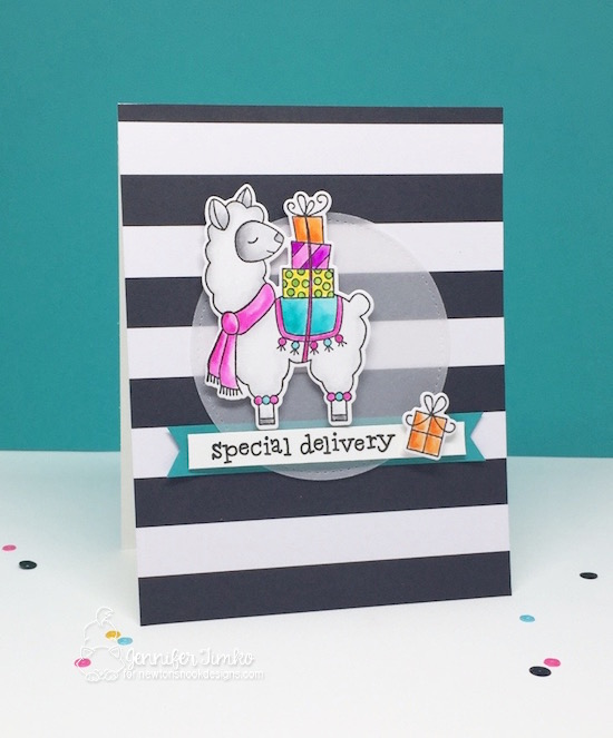 Special Delivery by Jen Timko | Llama Delivery Stamp Set and Dies by Newton's Nook Designs, Zig Clean Color Pens, FMS314