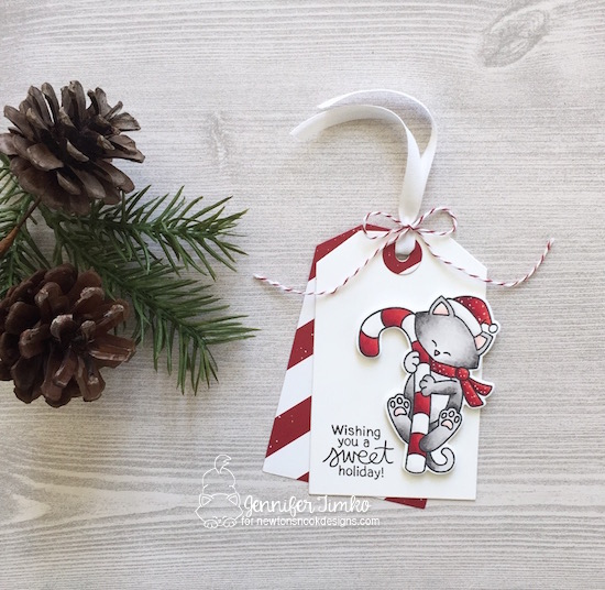 Sweet Holiday Tag by Jen Timko | Newton's Candy Cane Stamp Set and Dies by Newton's Nook Designs, Fancy Edges Tag Dies by Newton's Nook Designs, Be Merry DSP by Stampin' Up, Copic Coloring