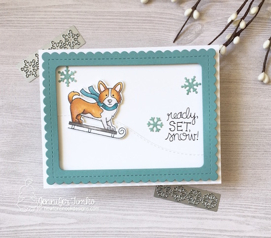 Ready, Set, Snow by Jen Timko | Winter Woofs Stamp Set and Dies by Newton's Nook Designs, Frames & Flags Dies by Newton's Nook Designs, Land Border Dies by Newton's Nook Designs, Copic Coloring