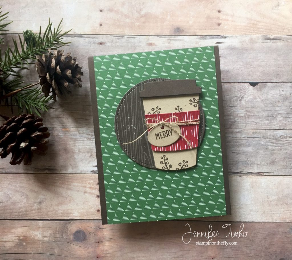 Merry by Jen Timko | Merry Café Stamp Set by Stampin' Up, Coffee Cups Framelits Dies by Stampin' Up, Be Merry DSP by Stampin' Up, Coffee Break DSP by Stampin' Up, Winter Coffee Lovers Blog Hop 2017