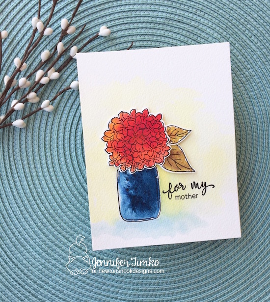 For my Mother by Jen Timko | Lovely Blooms Stamp and Dies by Newton's Nook Designs, Simply Relative Stamp Set by Newton's Nook Designs, Brusho