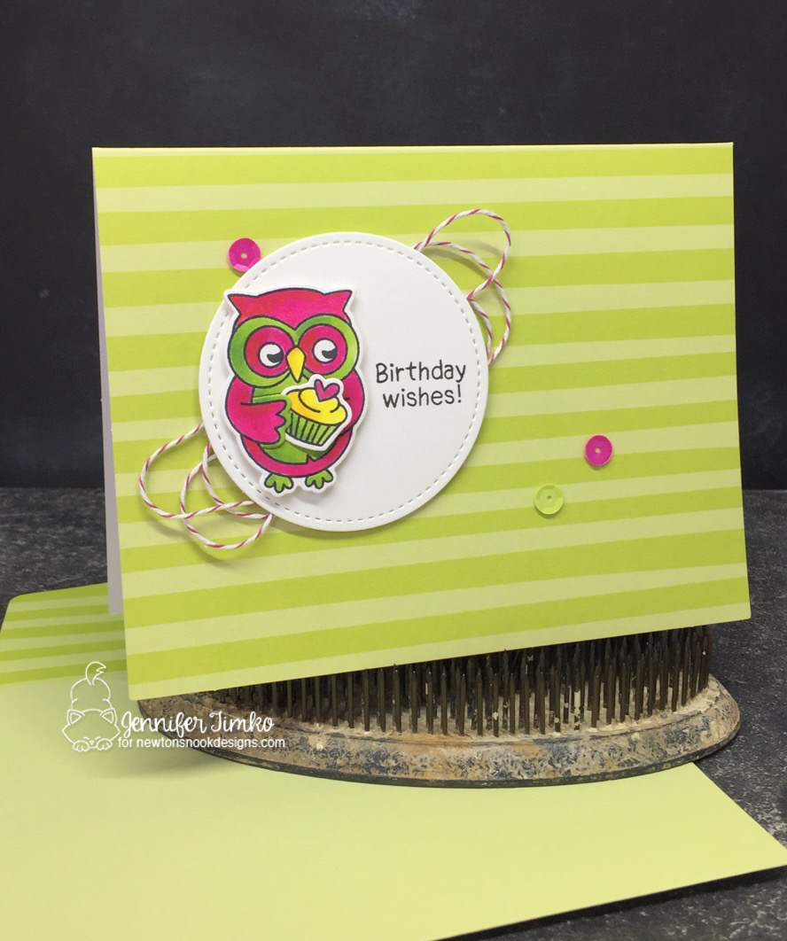 Birthday Owl by Jen Timko | Sending Hugs Stamps and Dies by Newton's Nook Designs, Tutti-frutti Notecards by Stampin' Up