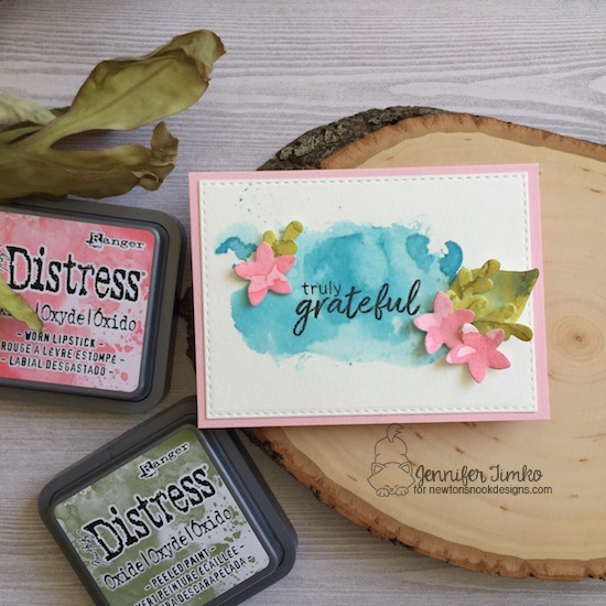 Truly Grateful by Jen Timko | Shades of Autumn Stamp and Dies by Newton's Nook Designs, Lovely Blooms Dies by Newton's Nook Designs, Tim Holtz Distress Oxide Ink