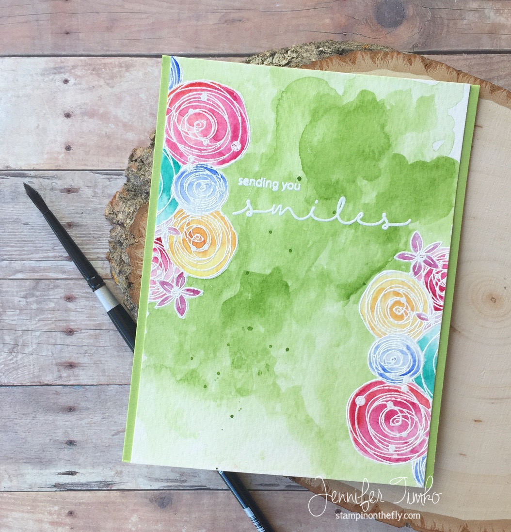 Sending You Smiles by Jen Timko | Hugs and Smiles Stamp by Joy Clair, MISTI by My Sweet Petunia, Watercolor