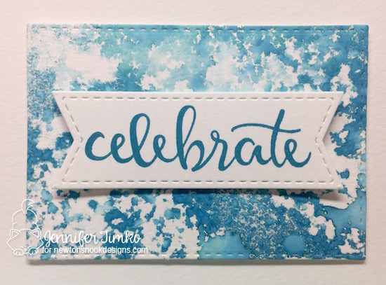 Celebrate by Jen Timko closeup | Birthday Essentials Stamp by Newton's Nook Designs, Magic Stamp by Clear Snap