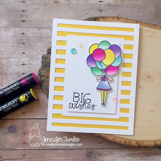 Big Wishes by Jen Timko | Holding Happiness Stamp and Dies by Newton's Nook Designs, Chameleon Pens, Striped Frames Confetti Cut Die by Reverse Confetti