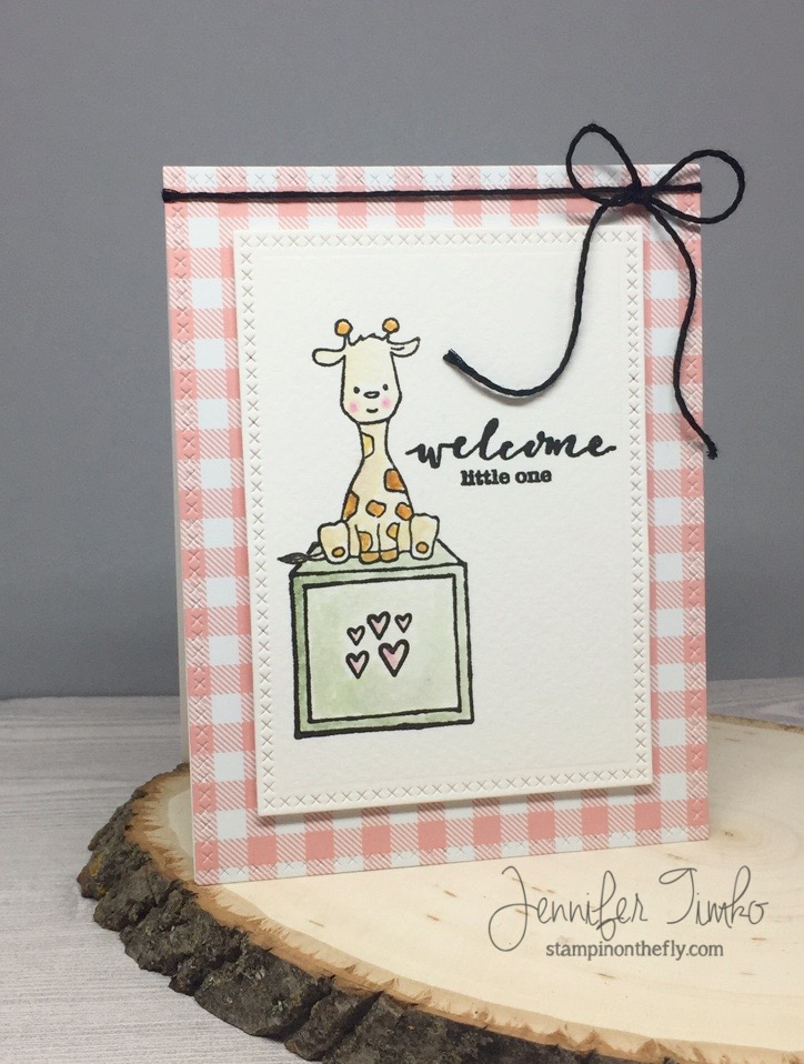 Welcome Little One by Jen Timko | Welcome to the Family Stamp by Winnie and Walter, Lawn Fawn Gotta Have Gingham Paper, Tim Holtz Distress Ink Watercoloring