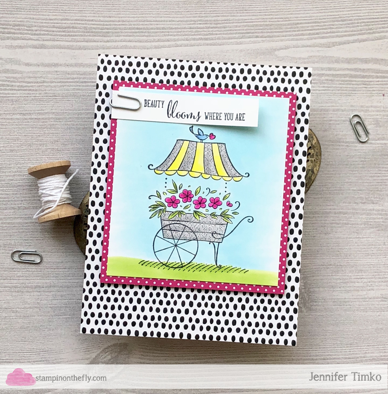Beauty Blooms by Jen Timko | Friendship's Sweetest Thoughts Stamp by Stampin' Up, Copic Coloring, Tutti-Frutti DSP by Stampin' Up