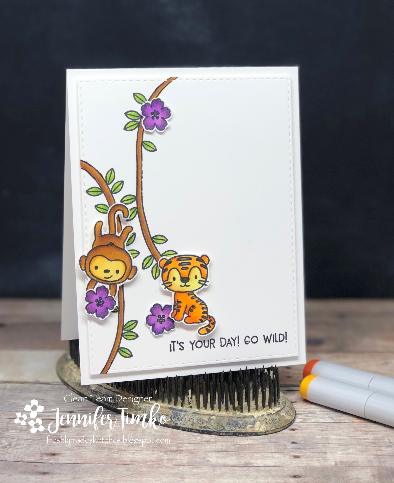 FMS331 by Jen Timko | Jungle Little Stamp Set by Hello Bluebird, Copic Coloring